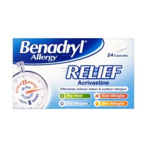 Box of Benadryl Allergy Capsules