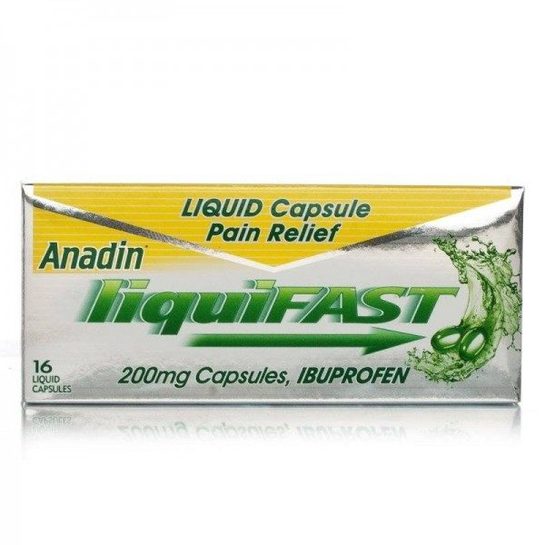 Anadin Liquifast Capsules 200mg Pack of 16